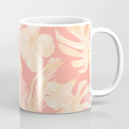 Pretty Pink and Coral Topical Monstera Pattern Coffee Mug