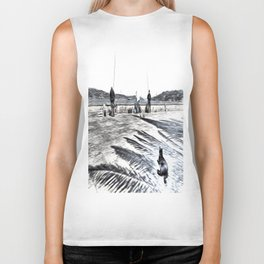 The Waiting Game Art Biker Tank