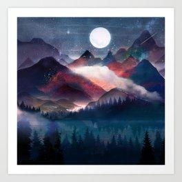 Mountain Lake Under the Stars Art Print