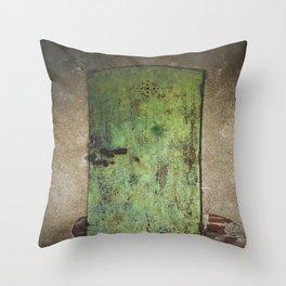 Rusty Green Door Throw Pillow