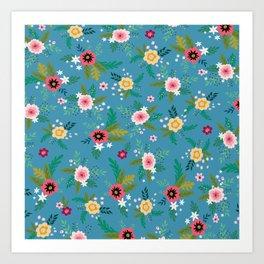 Simple Blue Botanical Pattern Art Print