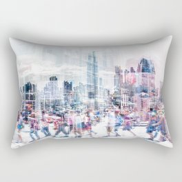 people in the city   - abstract city skyline and people on street double exposure Rectangular Pillow