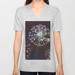 Fireworks. Dark Floral Abstract Unisex V-Neck