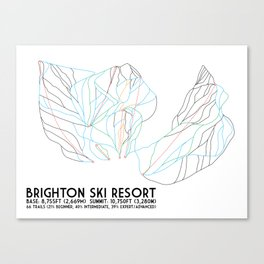 Brighton, UT - Minimalist Trail Art Canvas Print