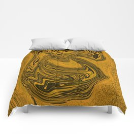 Black and gold liquid merger Comforters
