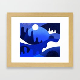 Terrazzo landscape blue night Framed Art Print