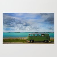 volkswagen Area & Throw Rugs featuring volkswagen bus  by Aaron Joslin Photography