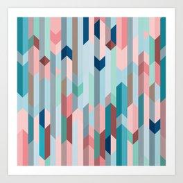 Blue & Pink Chevron Pattern Art Print