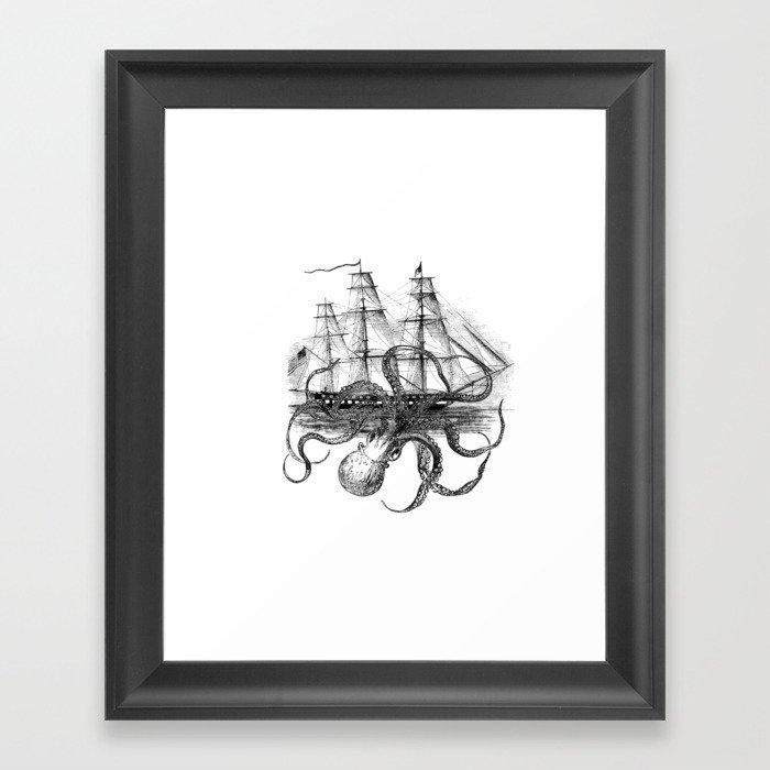Octopus Attacks Ship on White Background Gerahmter Kunstdruck