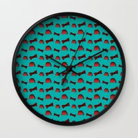 fez Wall Clocks featuring Red Fez & Bow Tie (on teal green) by Bohemian Bear by Kristi Duggins