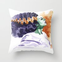 bride Throw Pillows featuring Bride by kenmeyerjr