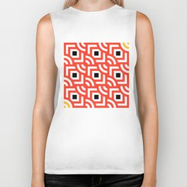 Round Pegs Square Pegs Red-Orange Biker Tank