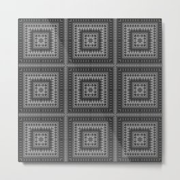 Black gray ethnic pattern . 1 Metal Print