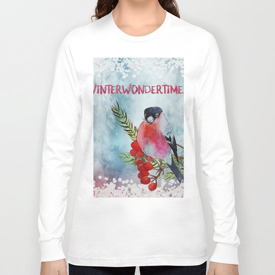 Winter Wondertime - Merry christmas- Little finch on branch-covered with snow Long Sleeve T-shirt