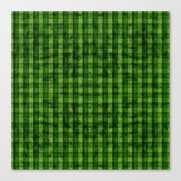 Forest Green and Lime Velvety Gingham Faux Suede Canvas Print