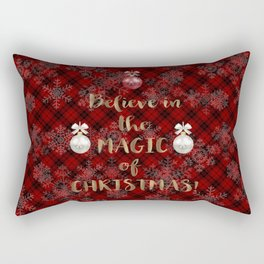 Red Plaid Snowflakes Believe in the magic of Christmas Typography Rectangular Pillow