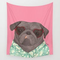 hawaiian Wall Tapestries featuring Hawaiian Pug by Indi Maverick