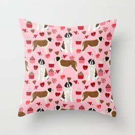 Saint Bernard valentines day cupcakes love hearts dog breed pet portrait pure breed unique dogs gift Throw Pillow
