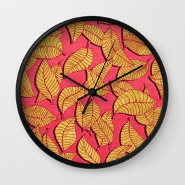 Golden tree leaves pink Wall Clock