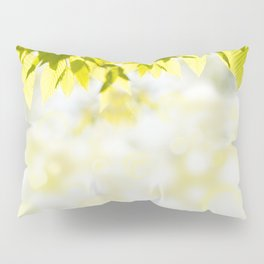 Elm green leaves and blurred space Pillow Sham