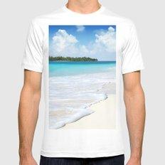 Paradise Ocean #waves MEDIUM White Mens Fitted Tee