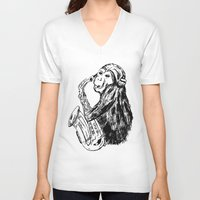 saxophone V-neck T-shirts featuring Musician monkey saxophone by Jemma Banks