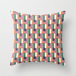 Mix of flag: usa and ireland Throw Pillow
