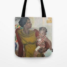 African American Masterpiece 'Harlem' portrait of a mother and daughter by Elanor Ruth Colburn Tote Bag