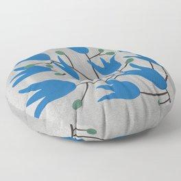 Blue Bell – Scandinavian folk art - Blue Bell Floral Floor Pillow