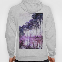 Monet Poplars on the Banks of the River Epte Magenta Violet Hoody