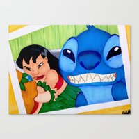 lilo and stitch Canvas Prints featuring Lilo & Stitch Selfie by Olivia Iman