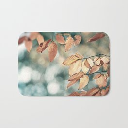 Teal Brown Nature Photography, Aqua Blue Copper Leaves, Turquoise Leaf Tree Branches, Fall Autumn Bath Mat