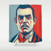 """ryan gosling Shower Curtains featuring Andrew Ryan """"Hope"""" Poster (clean) by Woah Jonny"""