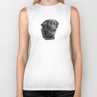 labrador Biker Tanks featuring Labrador retriever - black by Doggyshop