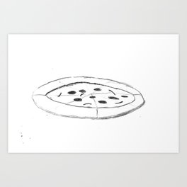 Pizza Pencil Drawing - Sketch Illustration Cartoon Black and White Comic Art Foodie Art Print