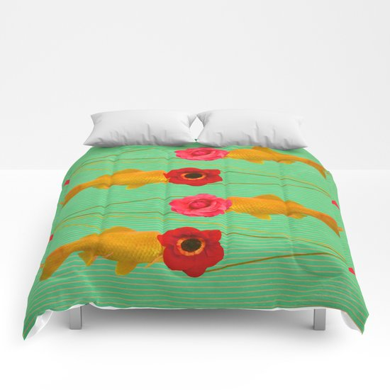 fishes and flowers Comforters