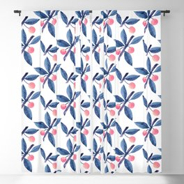 Modern hand painted blue pink watercolor leaves fruit pattern Blackout Curtain
