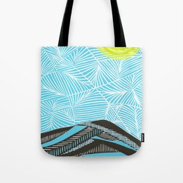 West to Mt. Tam - Linocut Tote Bag