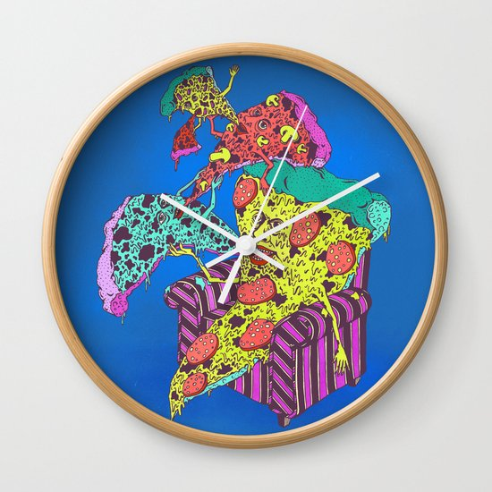 Pizza Eating Pizza - Blue Edition Wall Clock