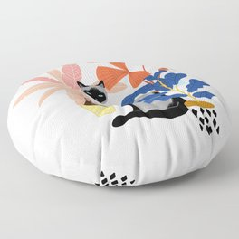 siamese cat and plants Floor Pillow