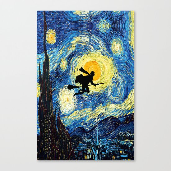 Starry Night Harry Potte with broom Van Gogh Inspired Magic Hogwarts Canvas Print