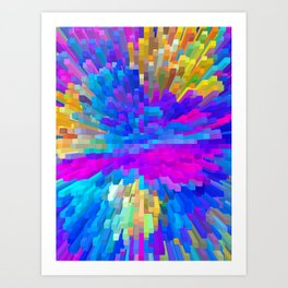 Extrusion effect - 3D Colorful spikes and cubes Art Print