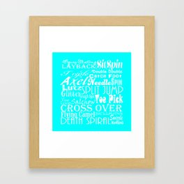 Turquoise Figure Skating Subway Style Typographic Design Framed Art Print
