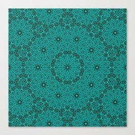 Beautiful mandala in teal and green Canvas Print