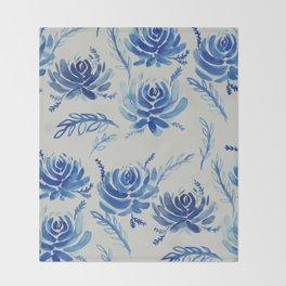 blue succulents Throw Blanket
