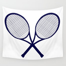 Crossed Rackets Silhouette Wall Tapestry