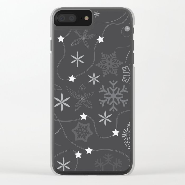 Stars on a string with snowflake and fireworks Clear iPhone Case