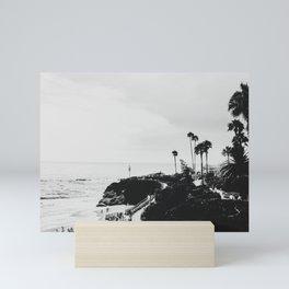 Laguna Beach | LoFi Black and White Relaxed Aesthetic Pink Sunset Palm Trees Hippie Ocean Waves Mini Art Print