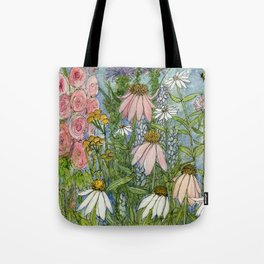 Garden Flowers Bee Blue Sky Nature Art Floral Watercolor Print Tote Bag