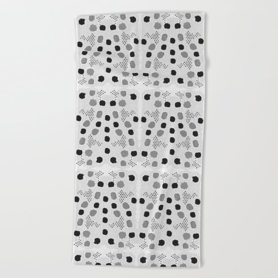 Jordan - black and white grey minimal modern dorm college trendy abstract painting dots brushstrokes Beach Towel
